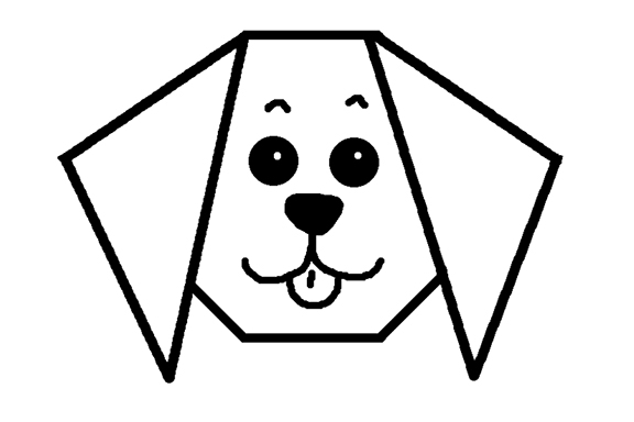 A black and white line drawing of a simple origami puppy.