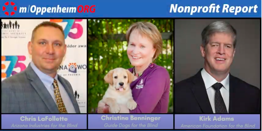 Three photos side by side of Chris LaFollete of Arizona Industries for the Blind, Christine Benninger of GDB and Kirk Adams of American Foundation for the Blind.