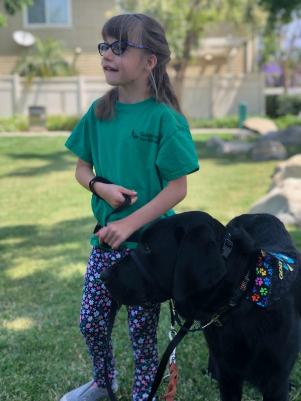 A young girl with a black Lab dog
