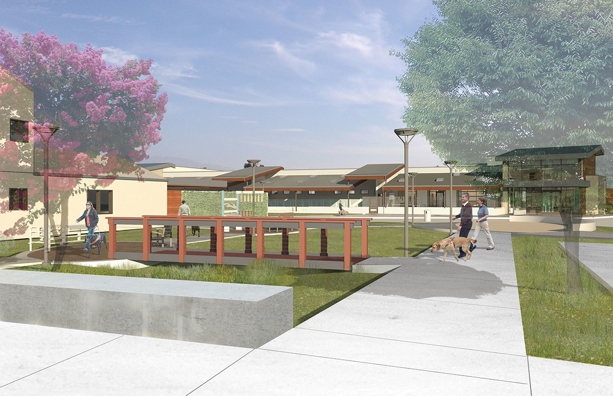 An architect's rendering of the Puppy Center's courtyard plaza.