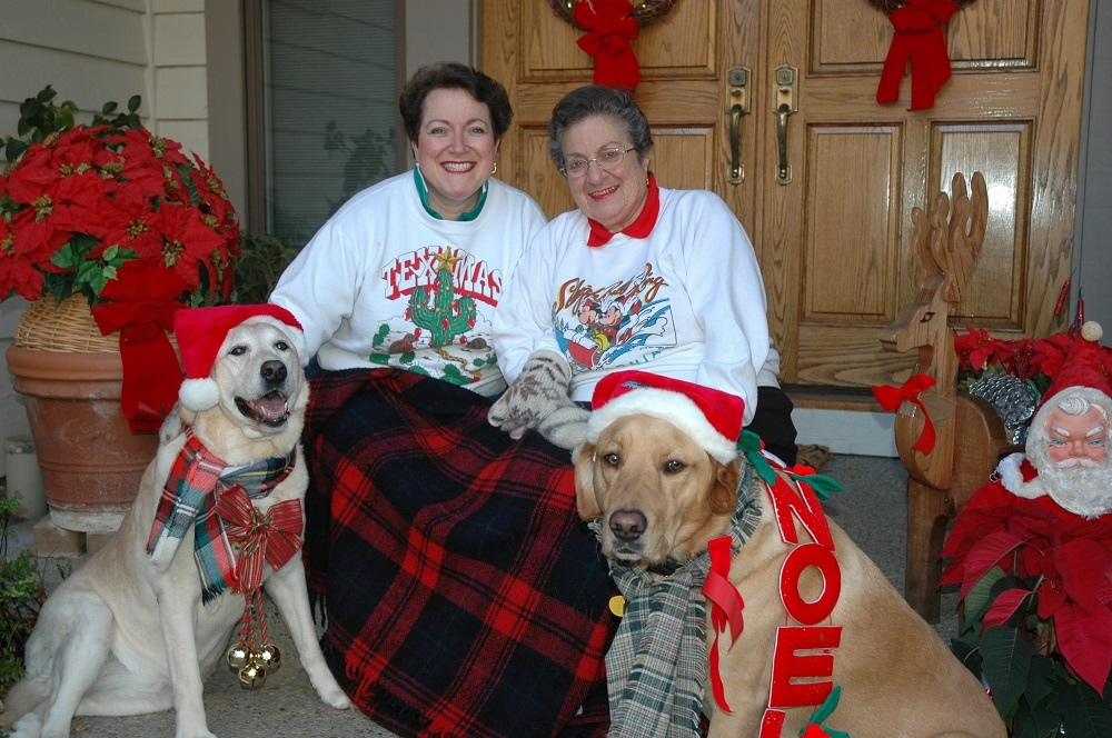 Donna and Marjorie with their dogs