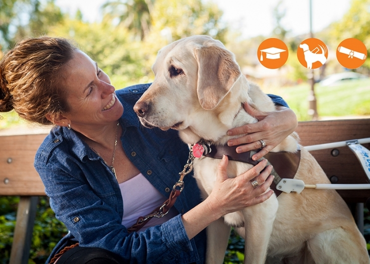 A woman seated on a bench looking at her her guide dog. In the top right corner there are three orange circles with white graphic icons in each: a mortar board, a guide dog, and a diploma.
