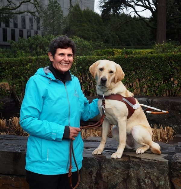 Chari Chauvin and her guide dog, Haviland